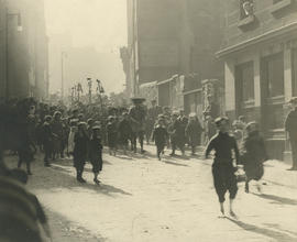 Photograph of children from Castlehill School, Edinburgh going in procession to the opening of an 'Outlook Tower Garden' (open space)