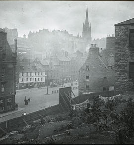 View of Grassmarket from West Port Garden