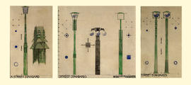 Three designs for street lamp standards mounted on one backing